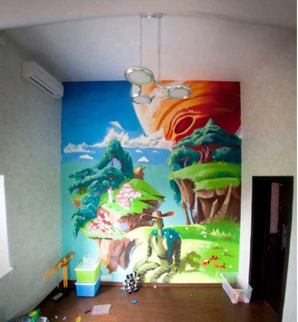 граффити дома на мансарде