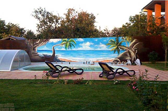Граффити создаёт тропический рай около дома