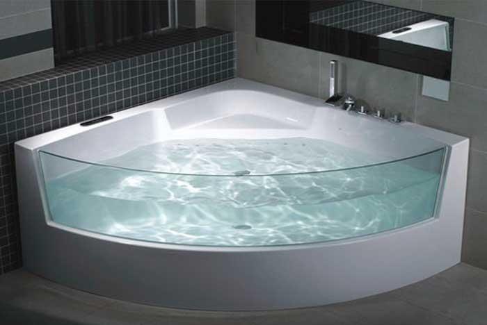 фото вставки из стекла в акриловую ванну