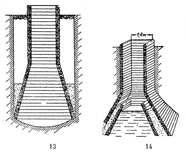 деревянные срубы колодцев