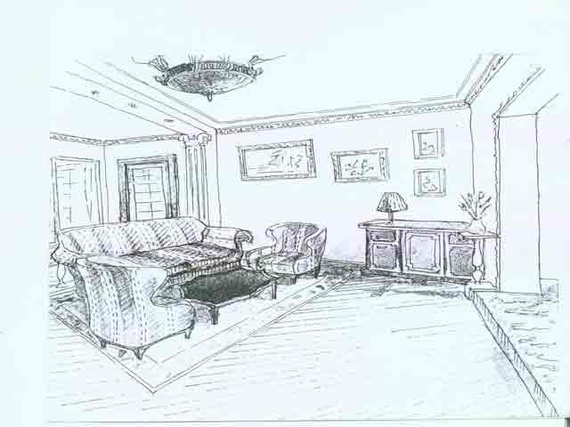 эскиз большой гостиной
