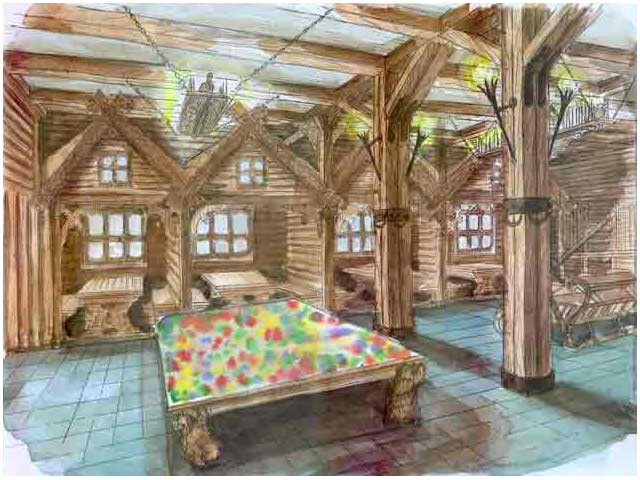бар оформлен деревянными балками