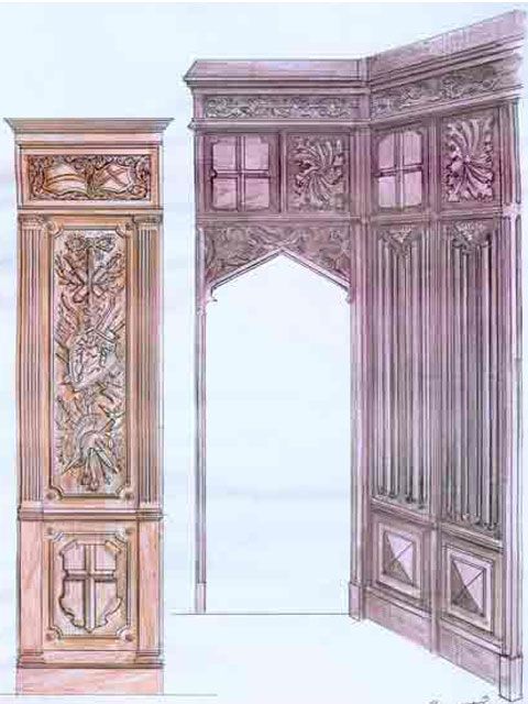 деревянный шкаф для библиотеки
