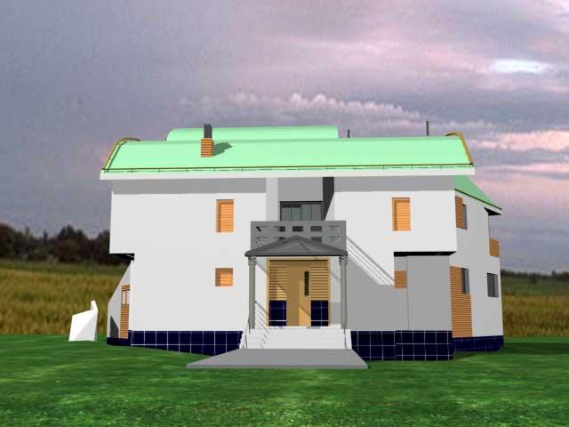 фасад белого коттеджа