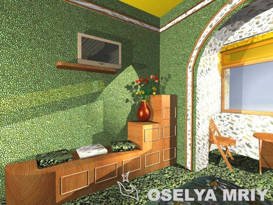 зеленые оттенки спальни