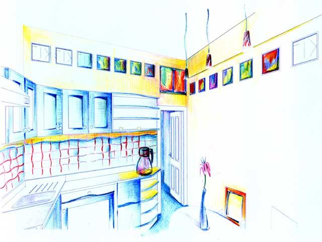 кухня в эскизе