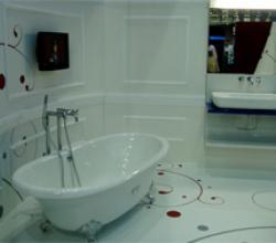 Фото ванной комнаты с полимерным полом