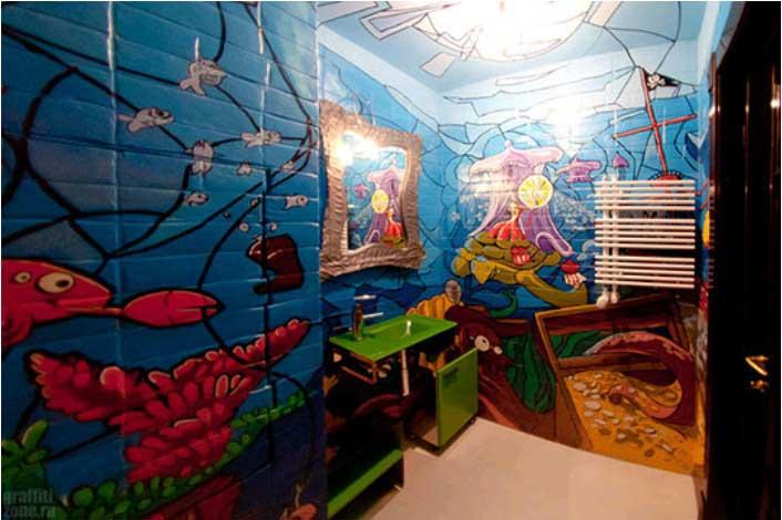 ванная дома, оформленная в стиле граффити