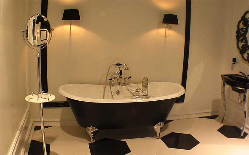 фото ванной комнаты в черно-белом цвете