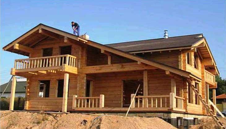 фото строительства деревянного дома