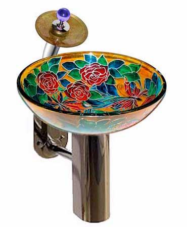 фото стеклянного умывальника для ванной, умывальник со столешницей