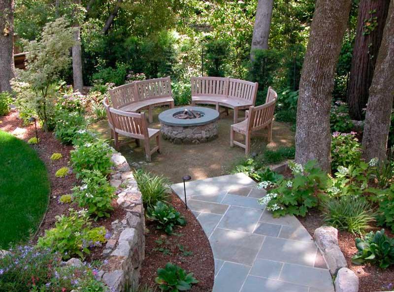 фото садовой дорожки из бетонной плитки