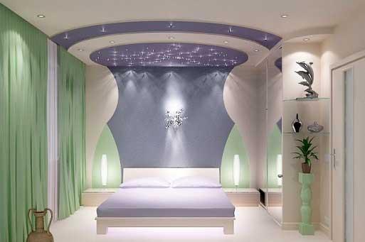 фото дизайна гипсокартонного потолка для спальни