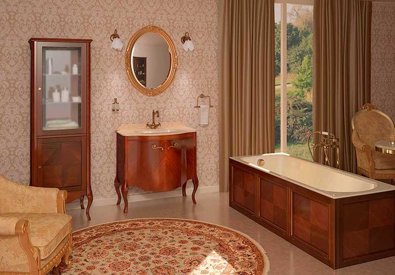фото набора мебели для ванной из натурального дерева