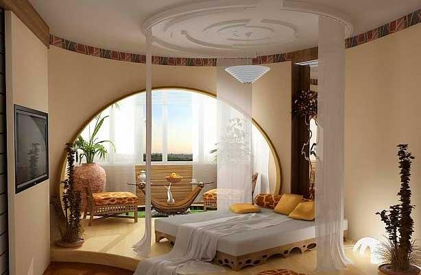 фото потолка в спальне из гипсокартона