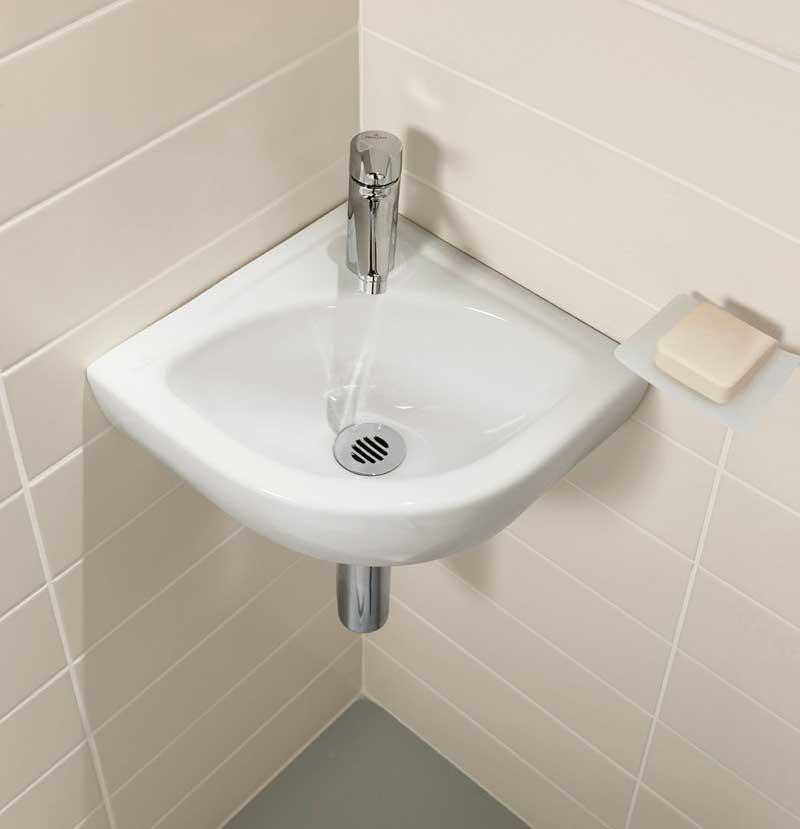 фото угловой раковины в ванной комнате