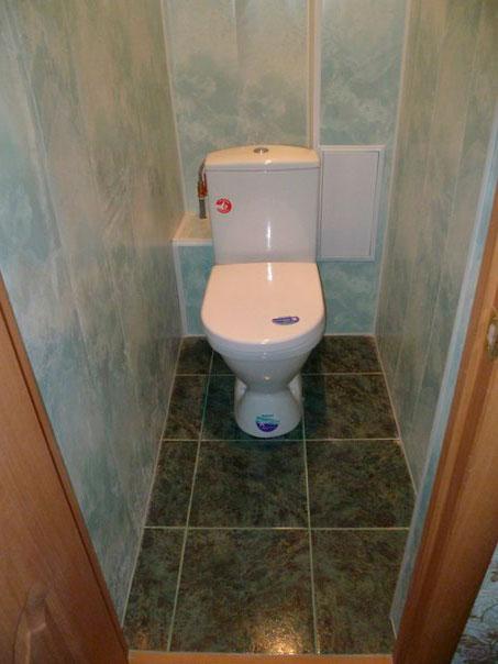 фото отделки туалета пластиковыми панелями
