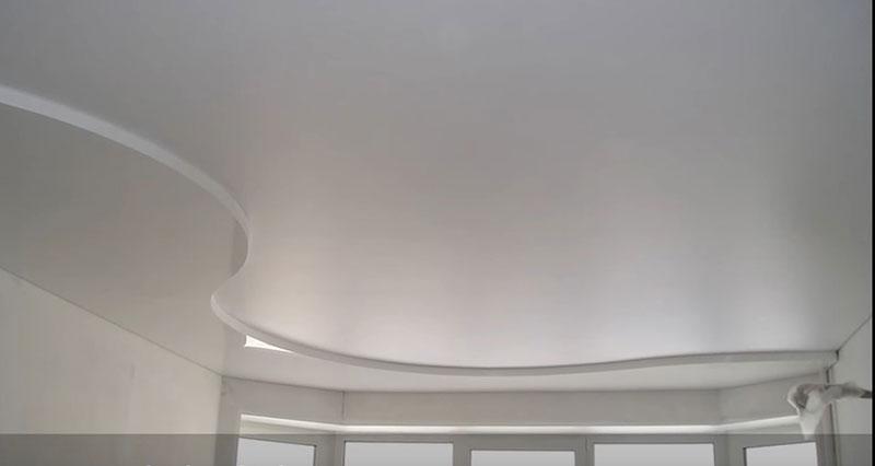 сложный натяжной потолок фото