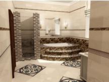 вид кафельной плитки в интерьере ванной