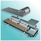 Напольный конвектор для сухой среды с тангенциальными вентиляторами