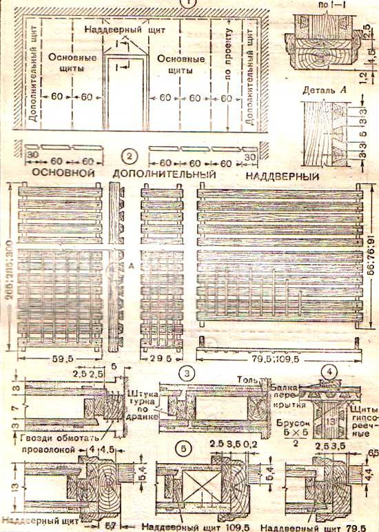 схема перегородок из гипсореечных щитов