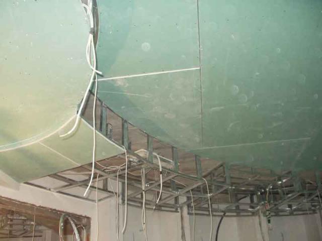 Гипсокартон при устройстве подвесного потолка