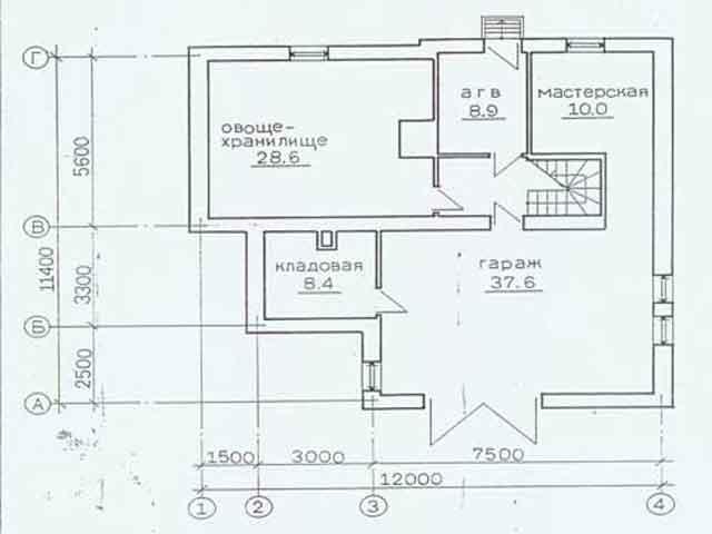 Эскиз цокольного этажа дома