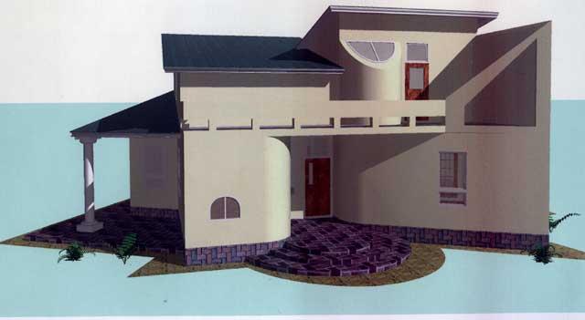 малоэтажный интересный дом