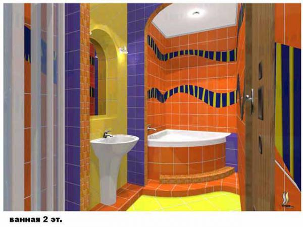 ванная в оранжевом свете