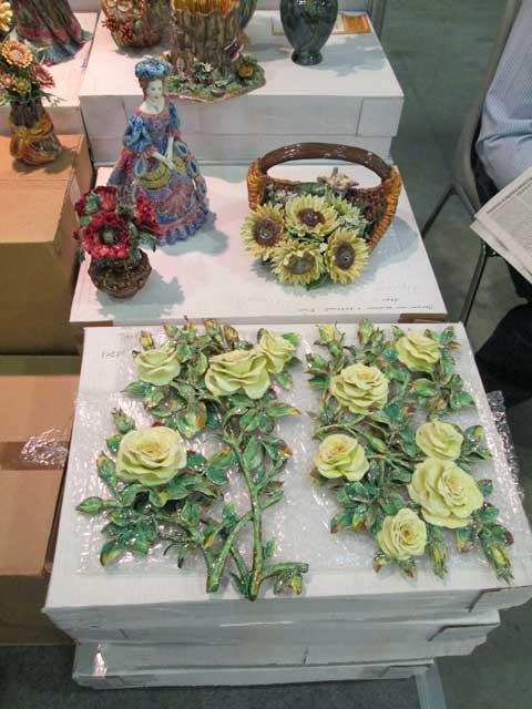 Керамическое панно ветка чайной розы