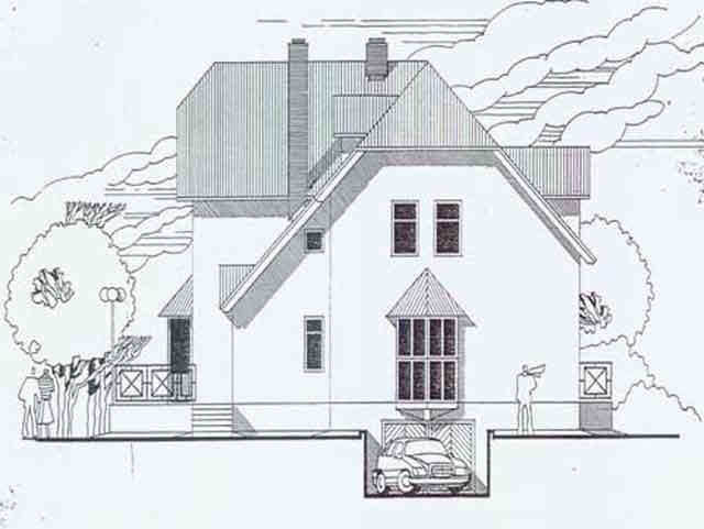 Вид дома с мансардой