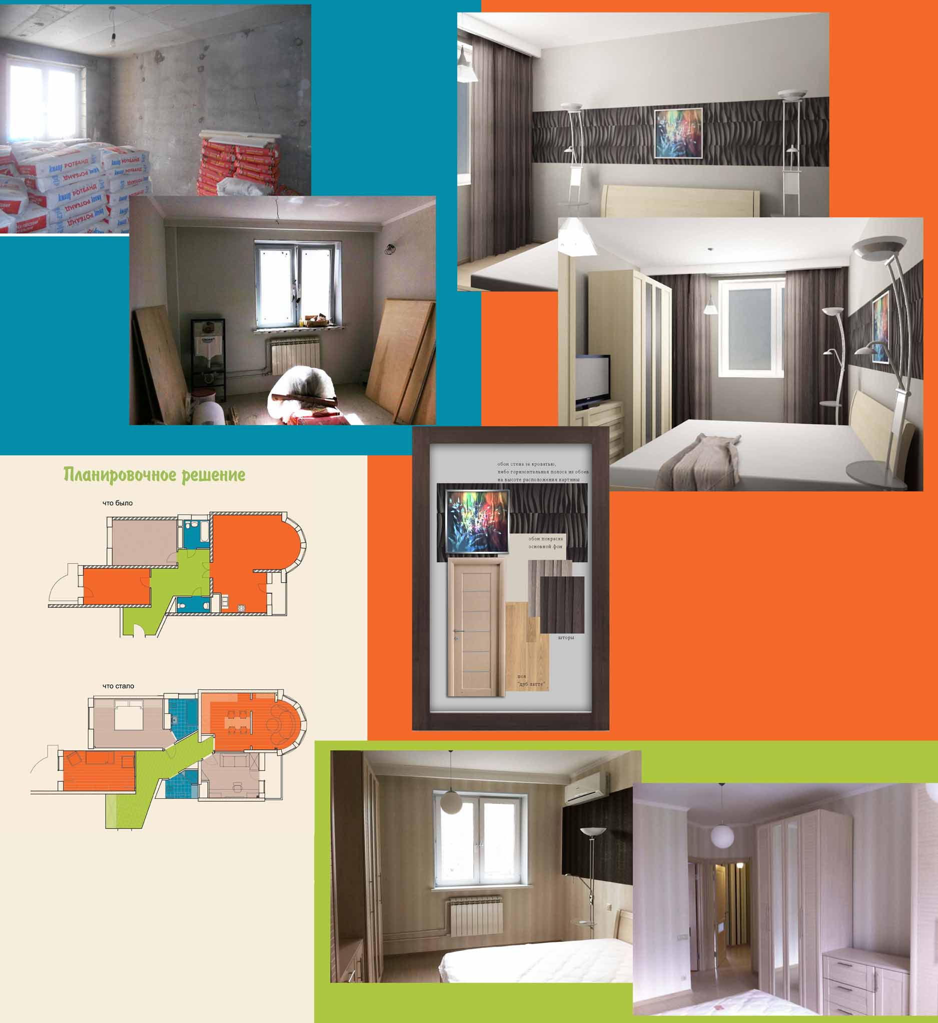спальная - этапы работы над помещением